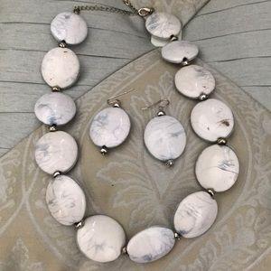 🆕Vegan Necklace Set blue silver beads Pierced New